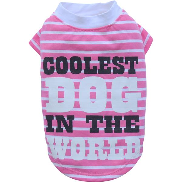 DoggyDolly T281 Shirt Coolest Dog in the World rosa/weiss