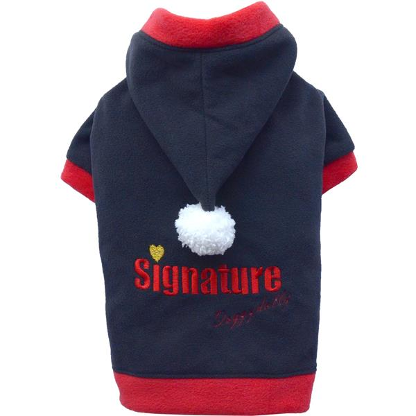 DoggyDolly W158 Fleece-Pullover mit Kapuze schwarz/rot Signature