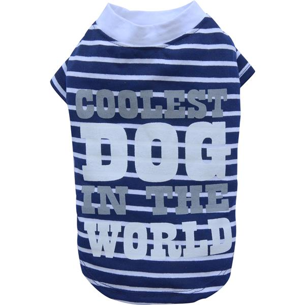 DoggyDolly T280 Shirt Coolest Dog in the World, blau/weiß Gestreift