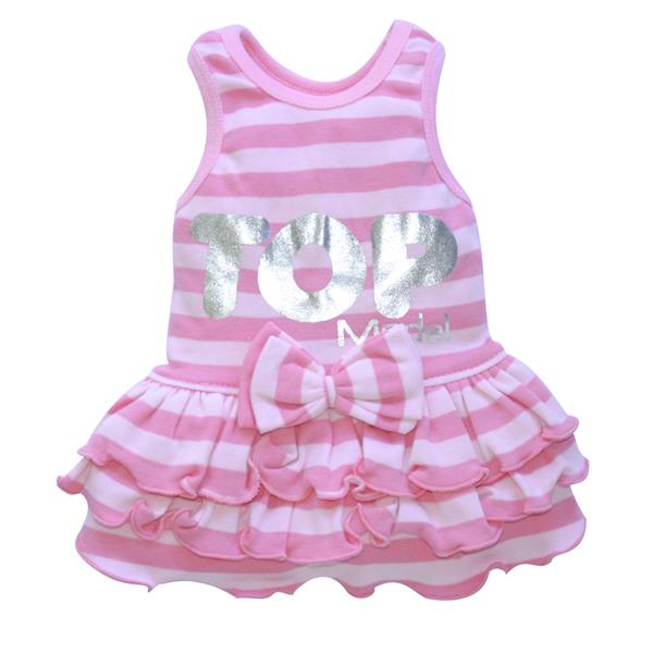 DoggyDolly DT025 Kleid gestreift rosa, Top Model