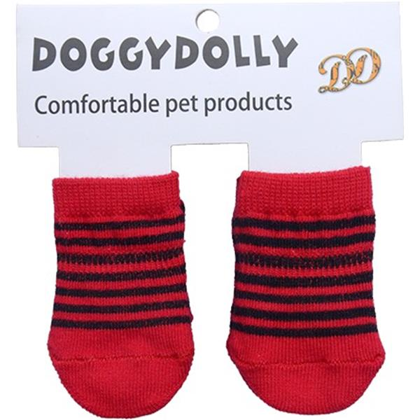 DoggyDolly SO003 Socken gestreift rot M